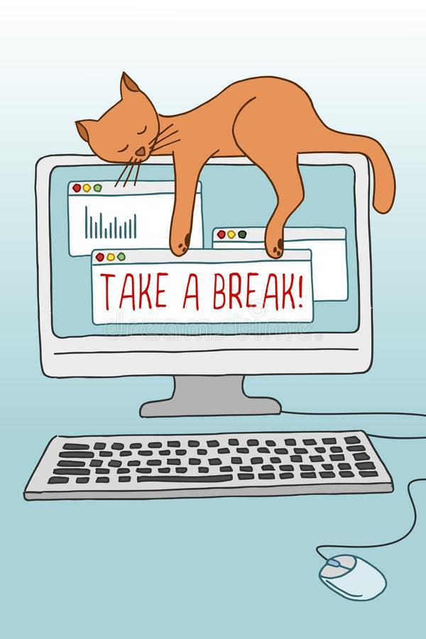 take-break-illustration-cute-cat-conceptual-asleep-computer-screen-demonstrating-importance-taking-82202087